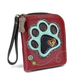 Chala Zip Around Wallet Teal Paw Print Burgundy