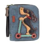 Chala Zip Around Wallet Wiener Dog Scooter