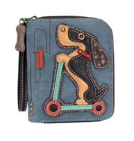 Chala Zip Around Wallet Wiener Dog Scooter