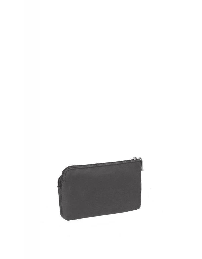 RFID Double Zip Wristlet Charcoal