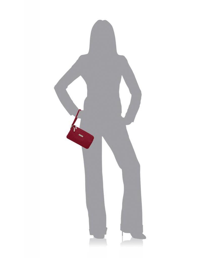 RFID Double Zip Wristlet Apple