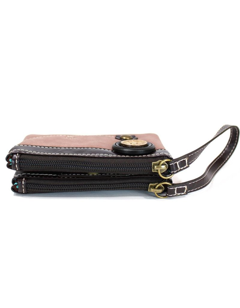 Chala Double Zip Wallet Brown