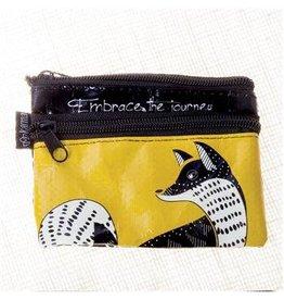 Karma Black and White Zip Coin Purse Fox