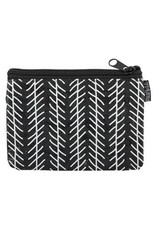 Karma Black and White Zip Coin Purse Fox