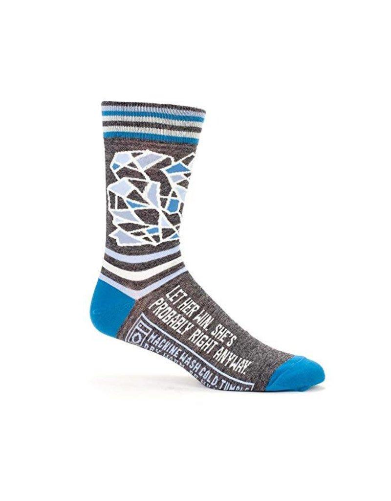 Blue Q Mens Crew Socks Let Her Win