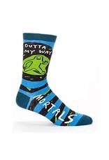 Blue Q Mens Crew Socks Outta My Way
