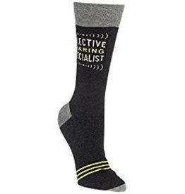 Blue Q Mens Crew Socks Selective Hearing