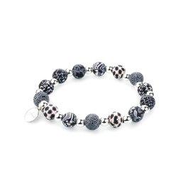 400-001 Black White Petite Silverball Bracelet