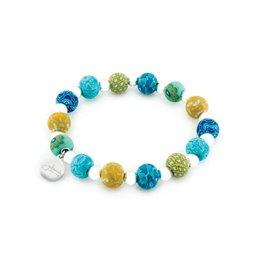 Jilzarah 400-041 Peruvian Blue Petite Silverball Bracelet