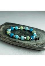 Jilzarah 400-045 Mandala Blue Petite Silverball Bracelet