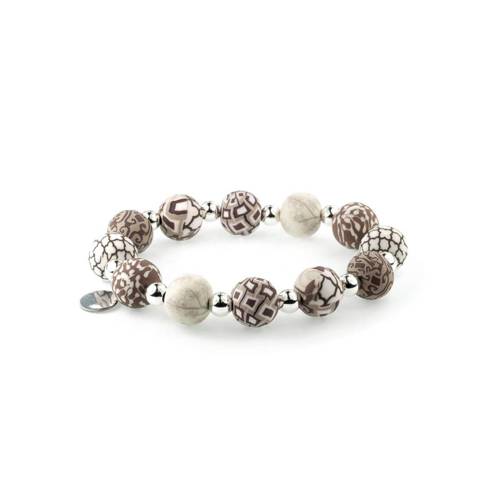 Jilzarah 401-002 Latte Medium Silverball Bracelet
