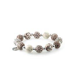 401-002 Latte Medium Silverball Bracelet