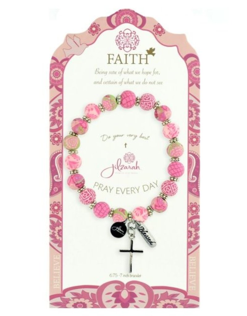 Jilzarah 495-008 Pink Specialty Faith Bracelet