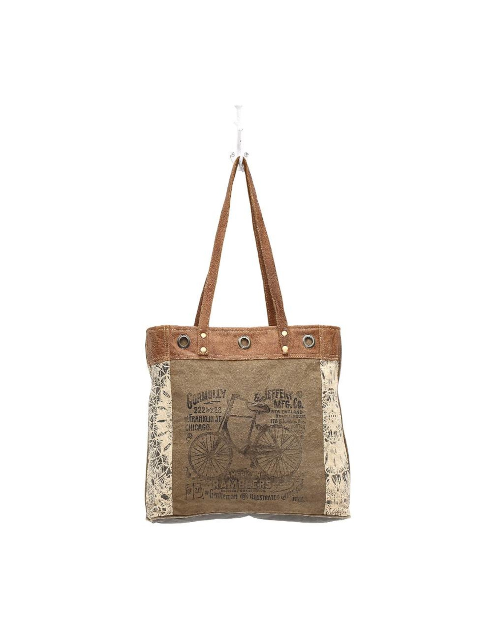 Myra Bags S-0935 Bicycle Print Canvas Tote