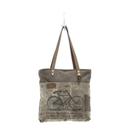 S-0938 Bicycle Print Canvas Tote