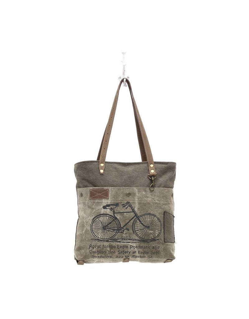 Myra Bags S-0938 Bicycle Print Canvas Tote