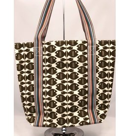 Bungalow 360 Canvas Striped Tote Fish