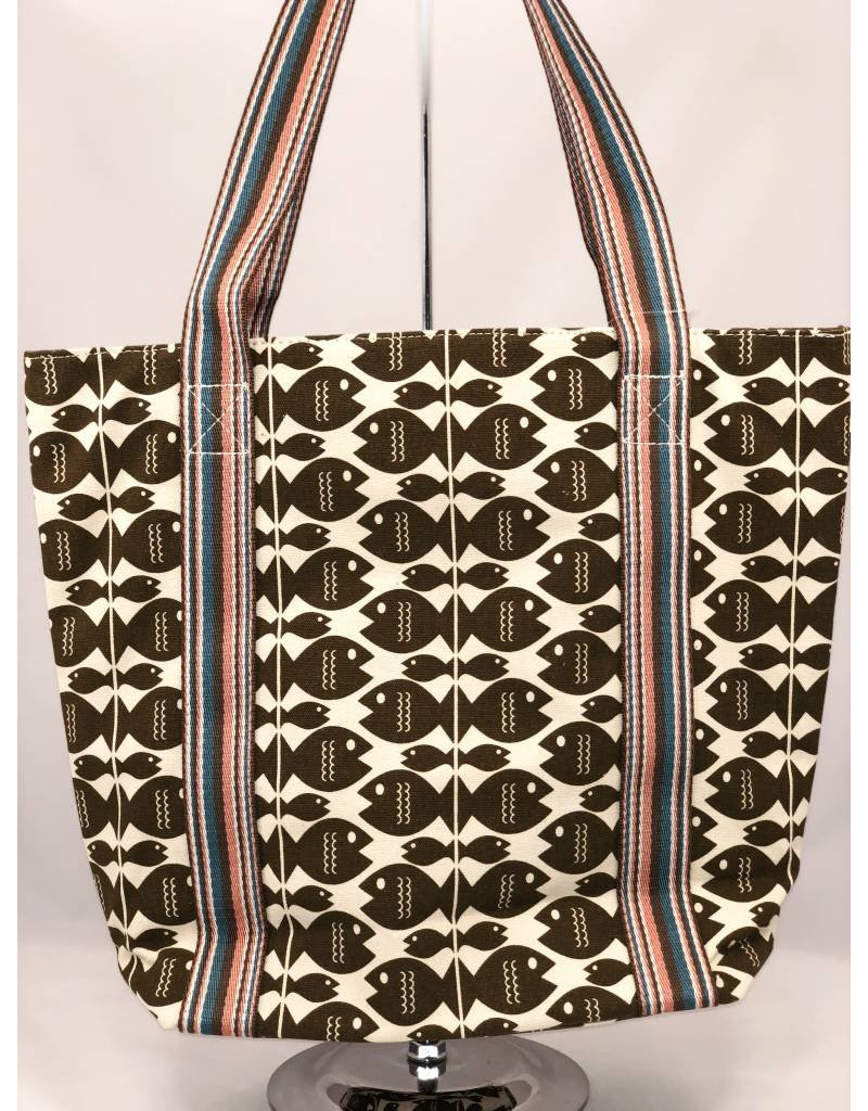 Bungalow 360 Inc Canvas Striped Tote Fish