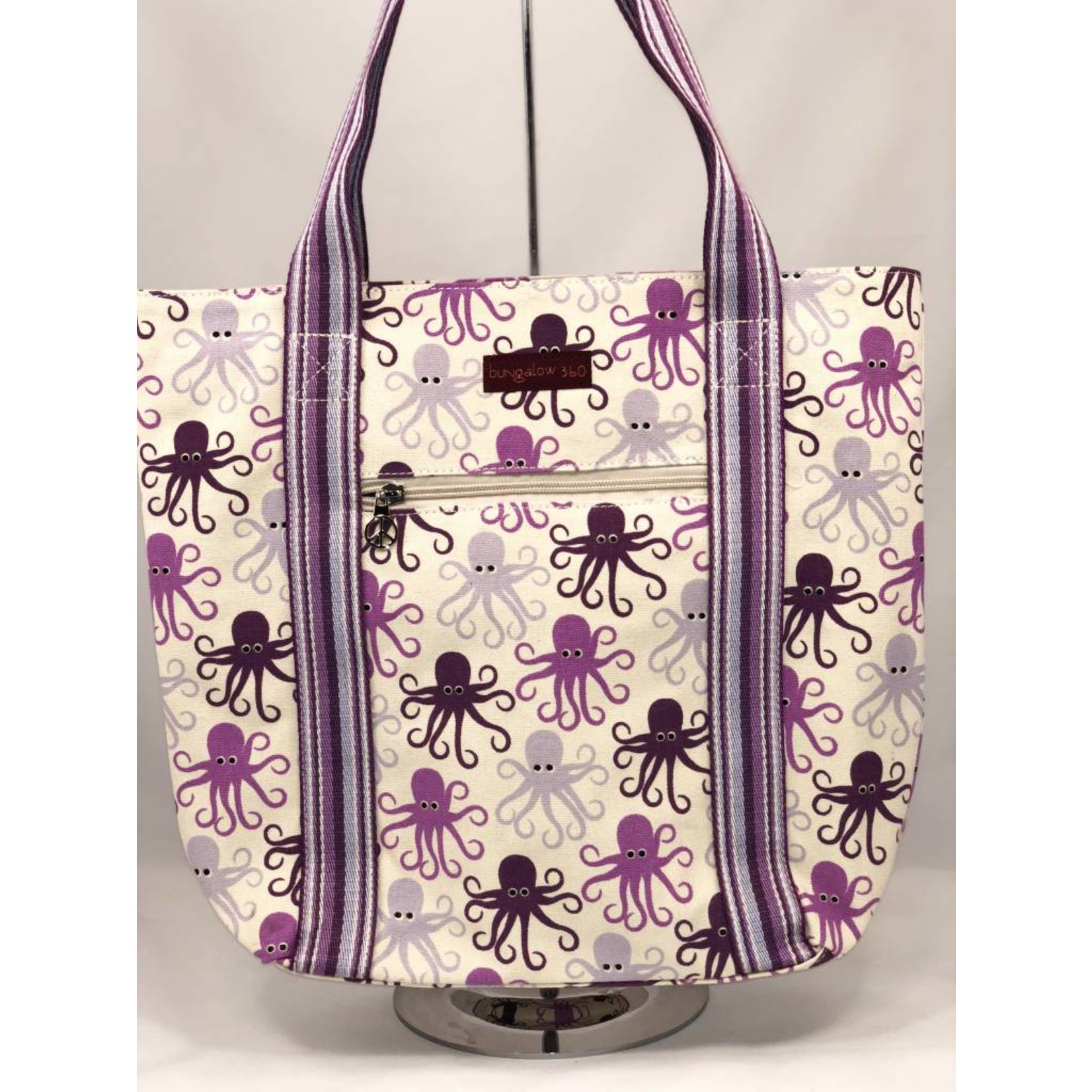 Bungalow 360 Canvas Striped Tote - Octopus