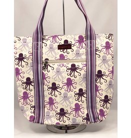 Canvas Striped Tote Octopus