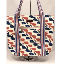 Bungalow 360 Inc Canvas Striped Tote Whale