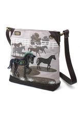 Chala Safari Horse Canvas Crossbody Gray
