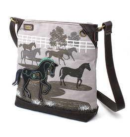 Chala Safari Horse Canvas Crossbody (Gray)