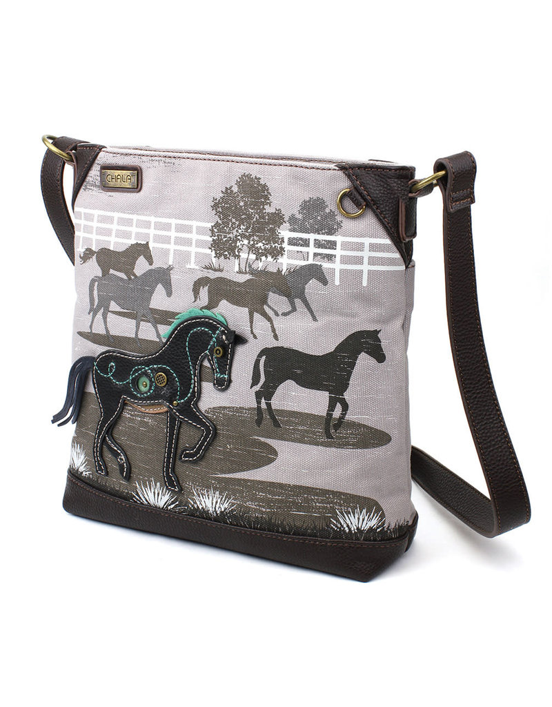 Chala Safari Horse Canvas Crossbody Gray