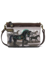 Chala Safari Horse Canvas Mini Crossbody Gray