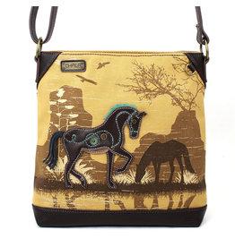 Chala Safari Horse Canvas Crossbody (Brown)
