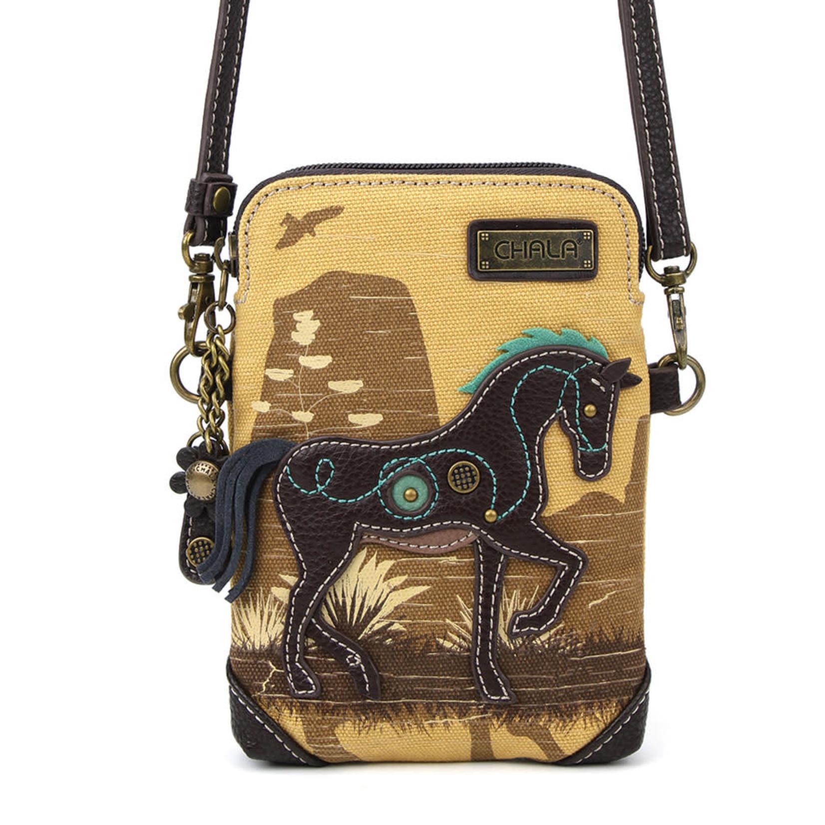 Chala Safari Horse Cell Phone Crossbody (Brown)