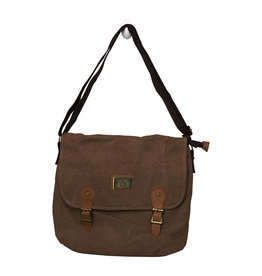3971 Medium Brown Canvas Messenger