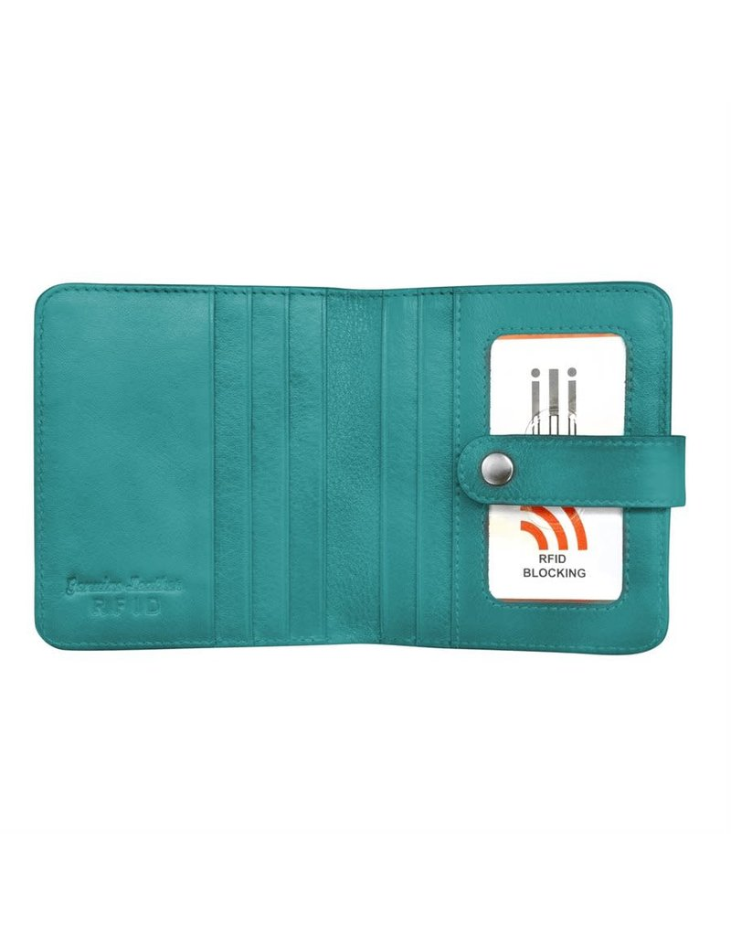 Leather Handbags and Accessories 7301 Aqua - RFID Small Wallet