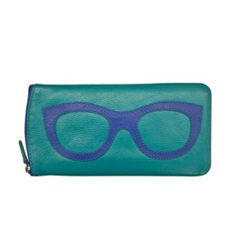 Leather Handbags and Accessories 6462 Aqua/Cobalt - Leather Eyeglass Case