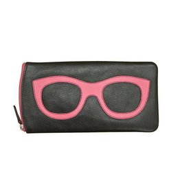 Leather Handbags and Accessories 6462 Black/Hot Pink - Leather Eyeglass Case