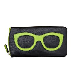 6462 Black/Leaf - Leather Eyeglass Case