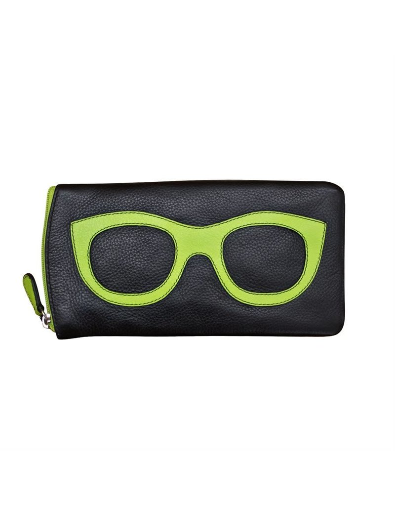 Leather Handbags and Accessories 6462 Black/Leaf - Leather Eyeglass Case
