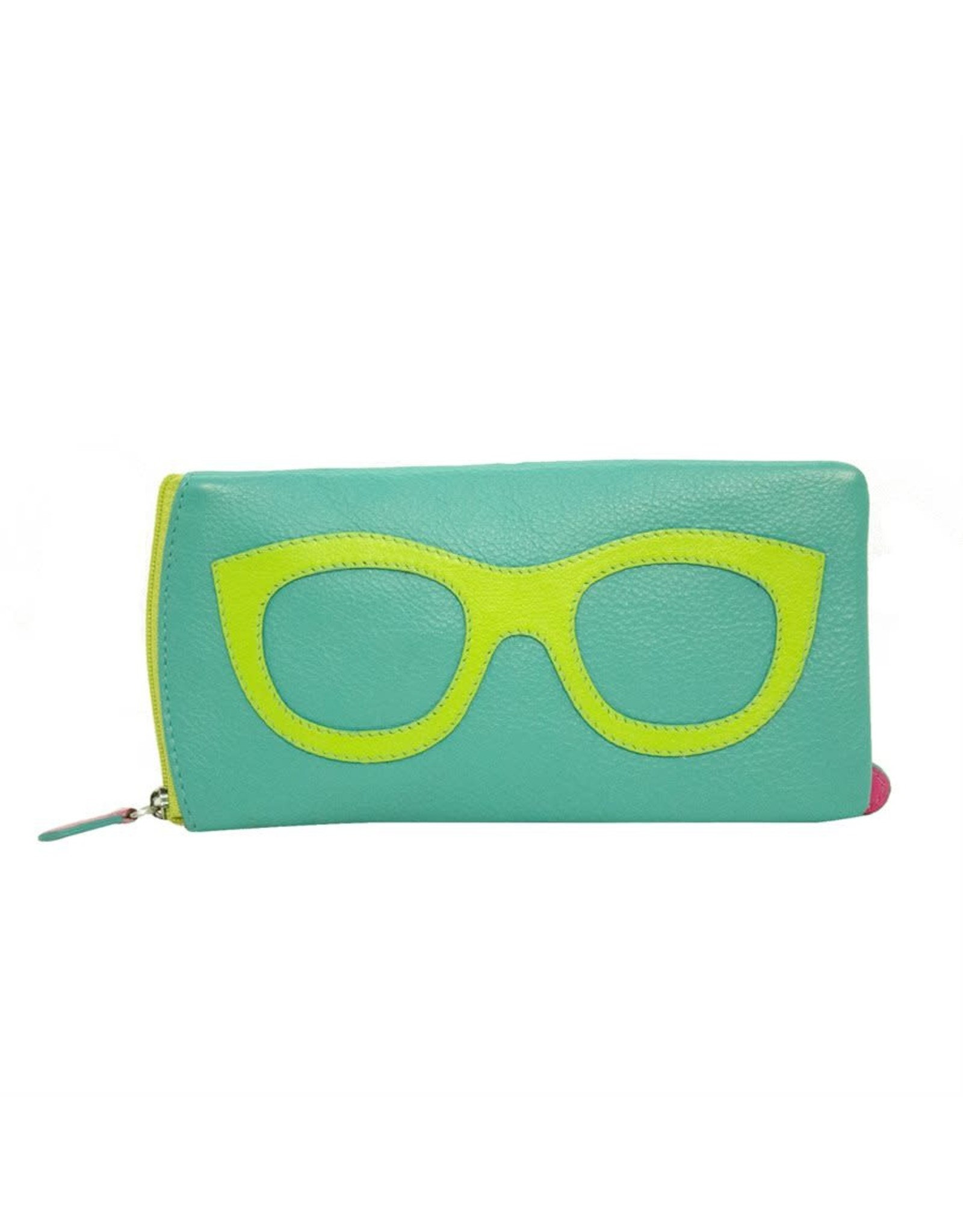 Leather Handbags and Accessories 6462 Turquoise/Leaf/Hot Pink - Leather Eyeglass Case