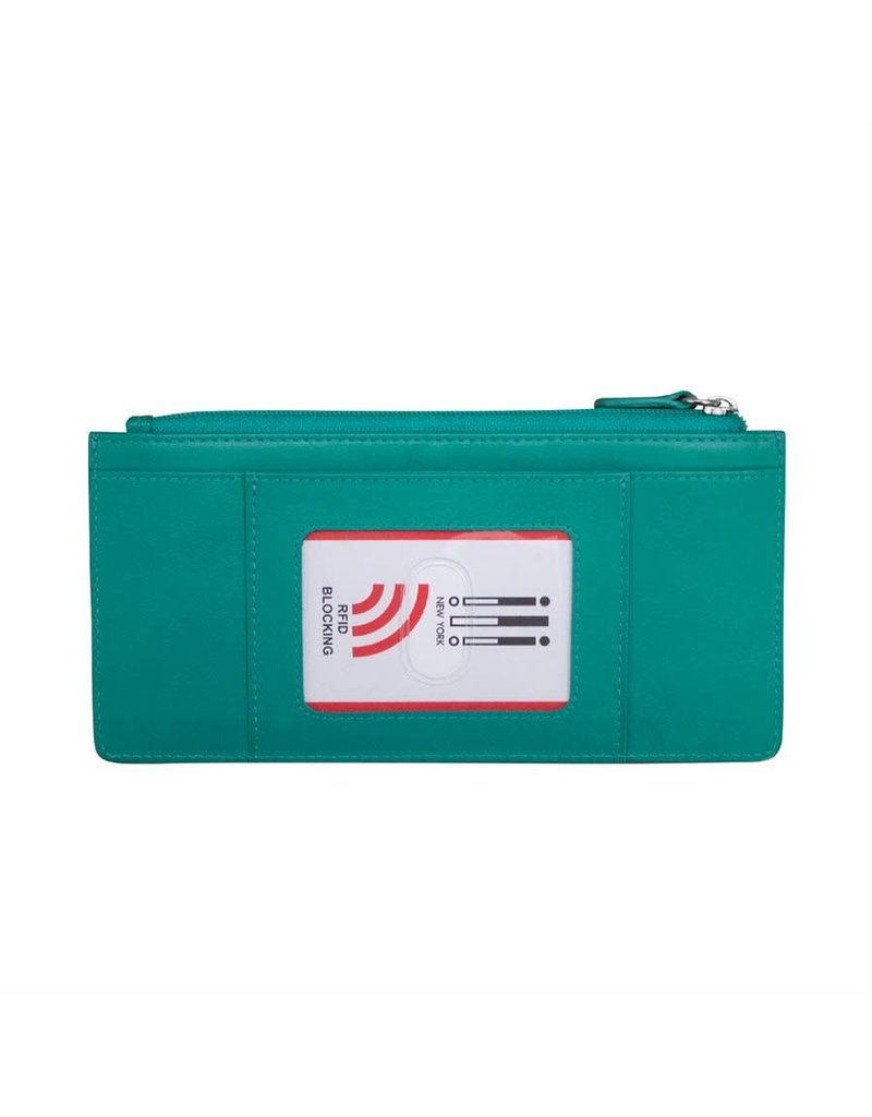 Leather Handbags and Accessories 7306 Aqua - RFID Credit Card Wallet