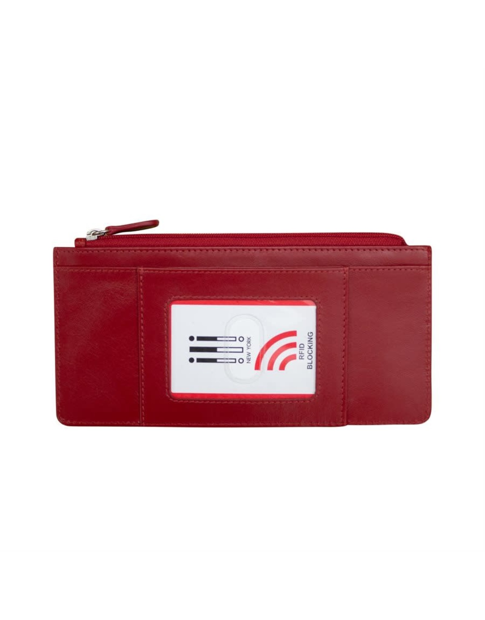 Leather Handbags and Accessories 7306 Red - RFID Credit Card Wallet