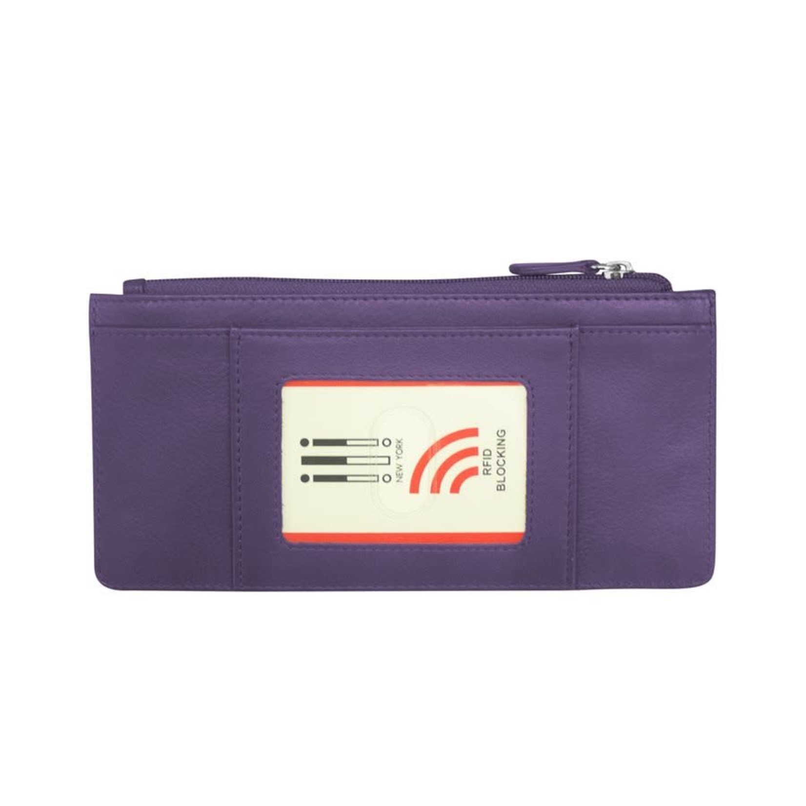 Leather Handbags and Accessories 7306 Purple - RFID Credit Card Wallet