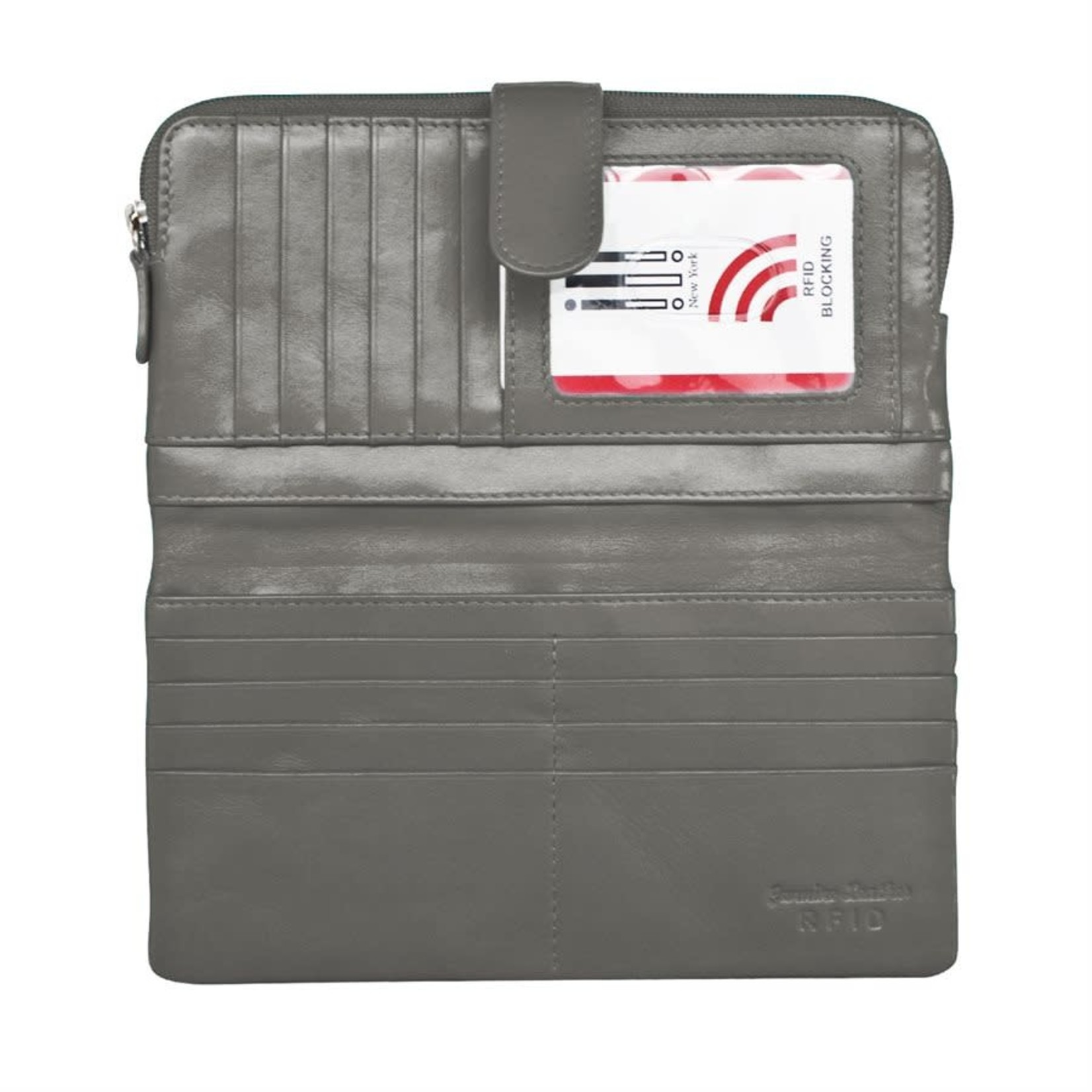 Leather Handbags and Accessories 7420 Gray - RFID Smartphone Wallet