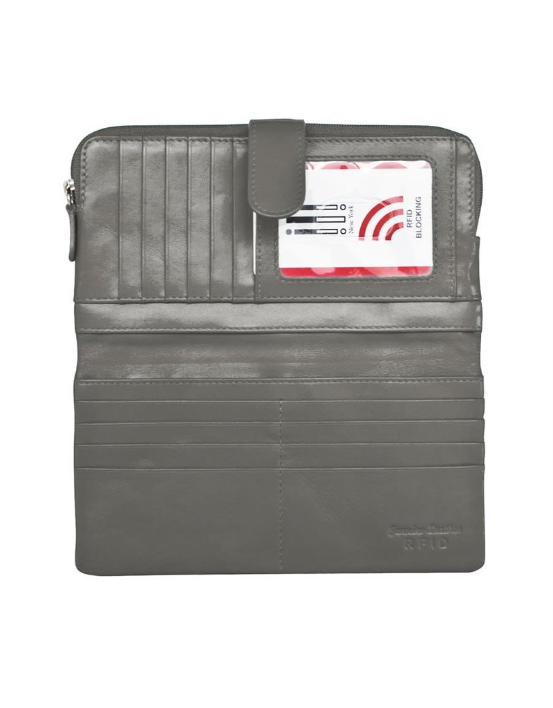 Leather Handbags and Accessories 7420 Grey - RFID Smartphone Wallet