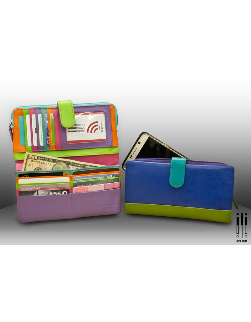 Leather Handbags and Accessories 7420 Purple - RFID Smartphone Wallet