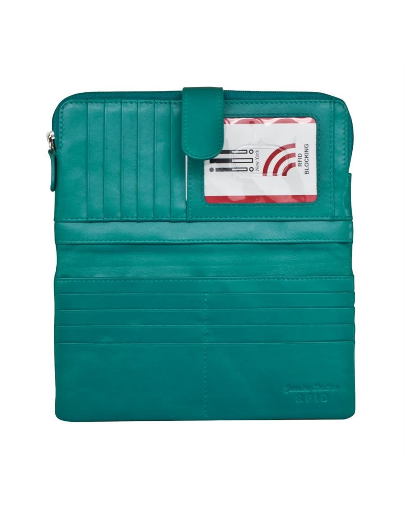 Leather Handbags and Accessories 7420 Aqua - RFID Smartphone Wallet