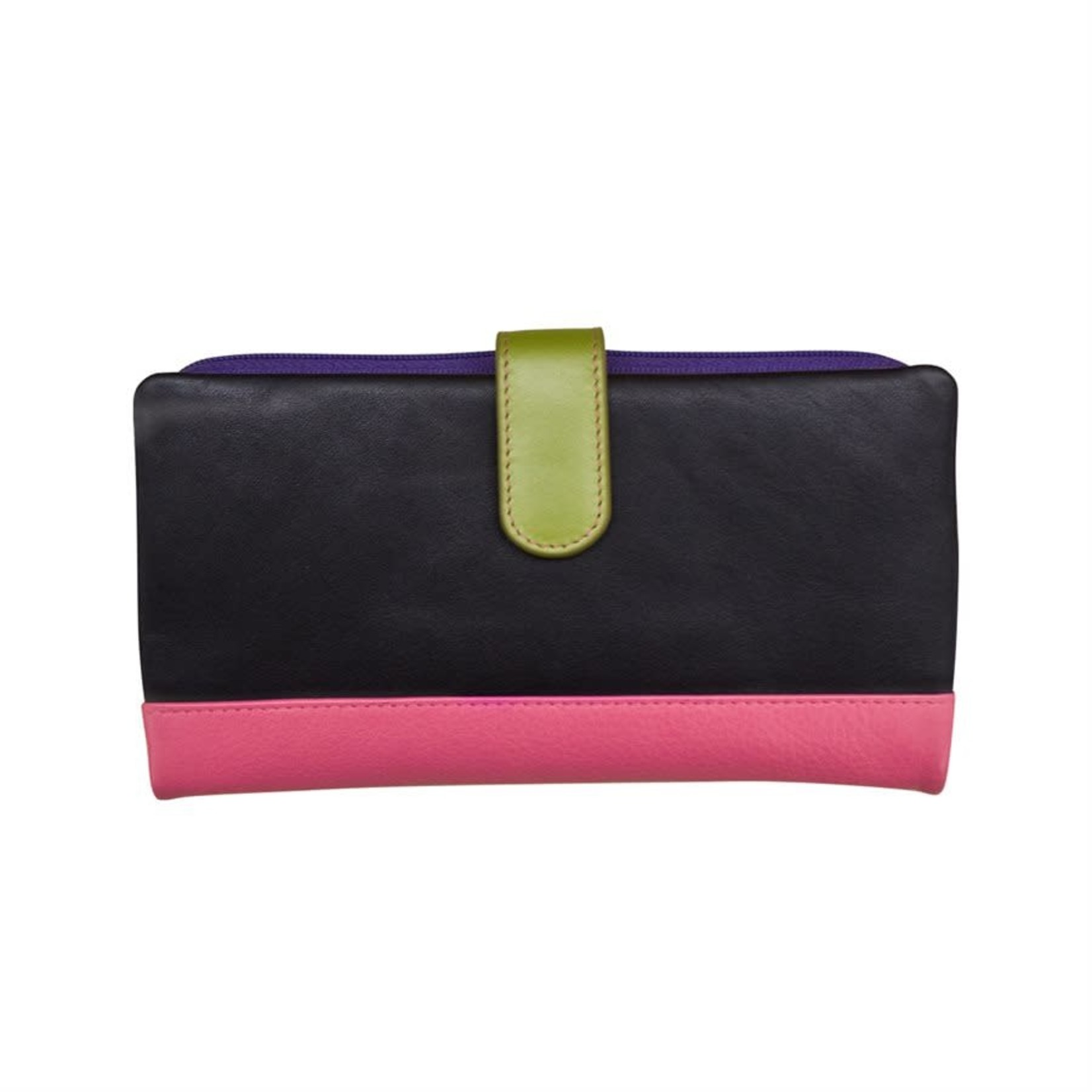 Leather Handbags and Accessories 7420 Black Brights - RFID Smartphone Wallet