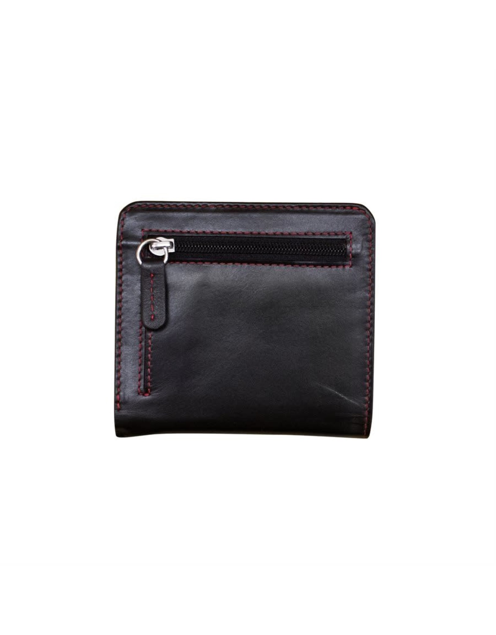 Leather Handbags and Accessories 7831 Black/Red - RFID Mini Wallet Two Toned