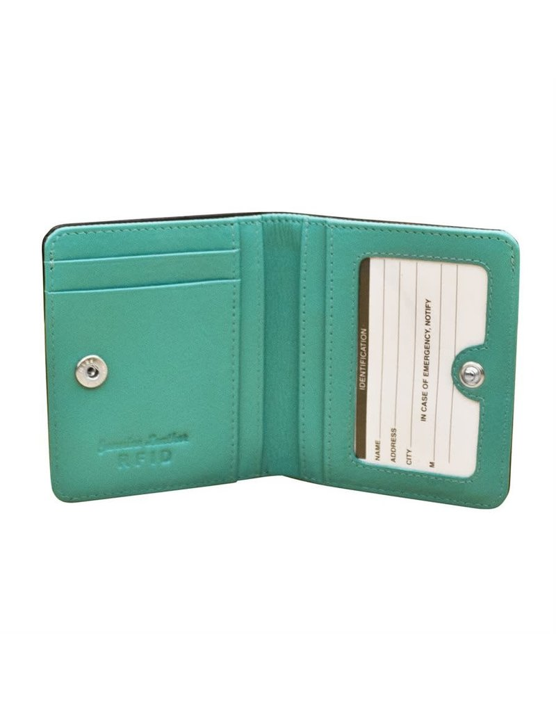 Leather Handbags and Accessories 7831 Brown/Turquoise - RFID Mini Wallet Two Toned