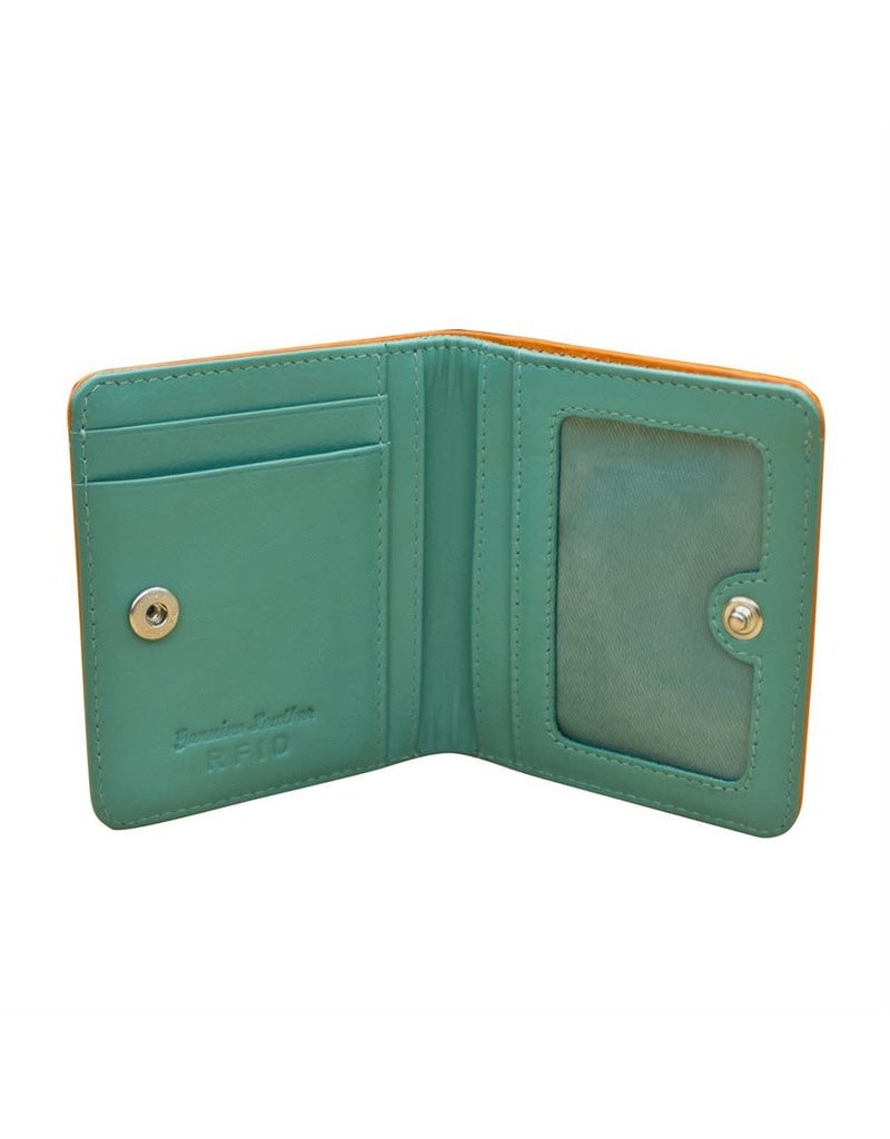 Leather Handbags and Accessories 7831 Papaya/Turquoise - RFID Mini Wallet Two Toned