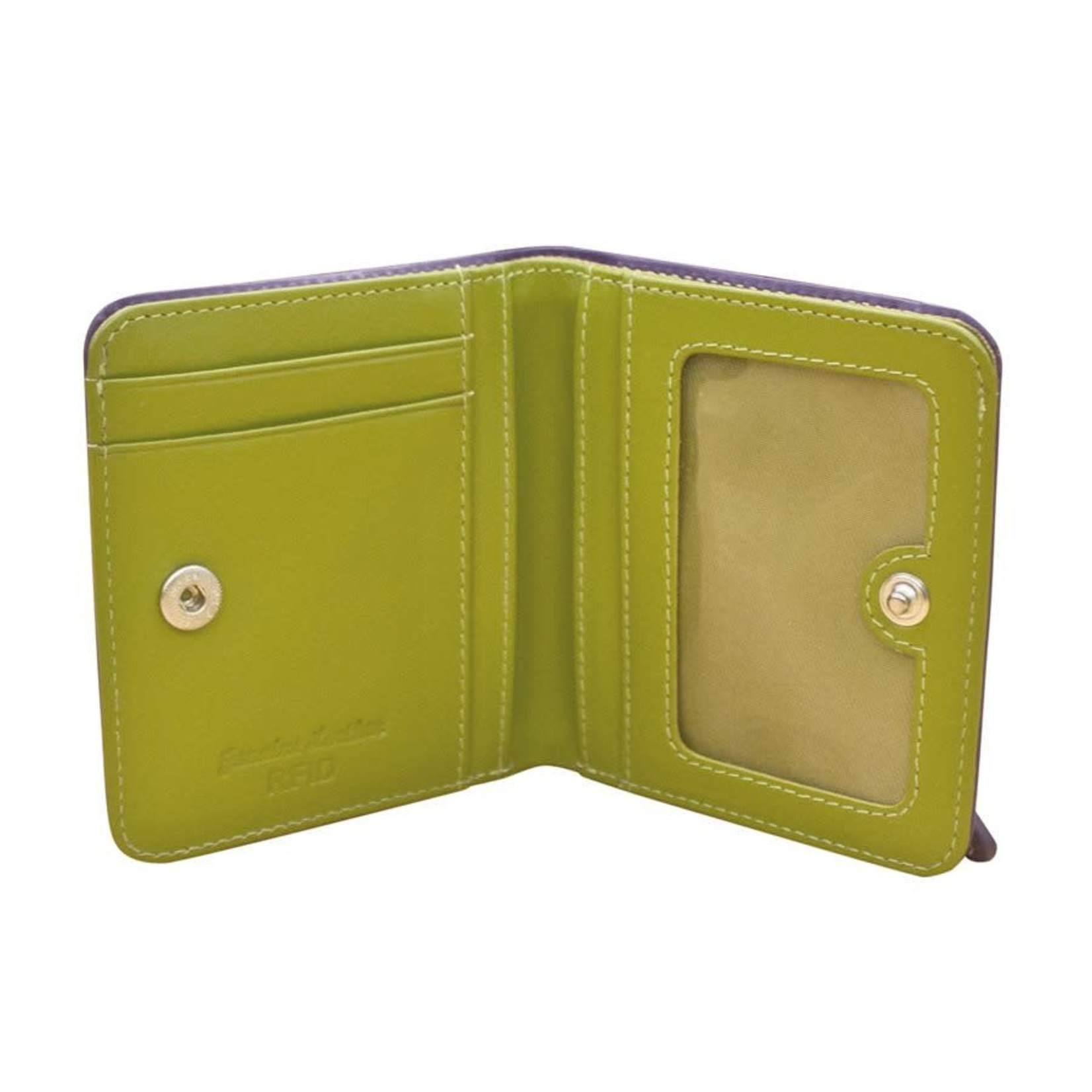 Leather Handbags and Accessories 7831 Purple/Moss Green - RFID Mini Wallet Two Toned